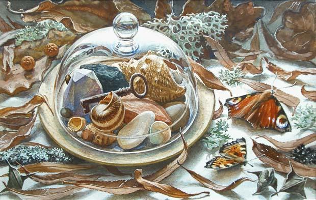 Sergey Alekseevich Makarov. Still life with a key, butterflies, fallen leaves