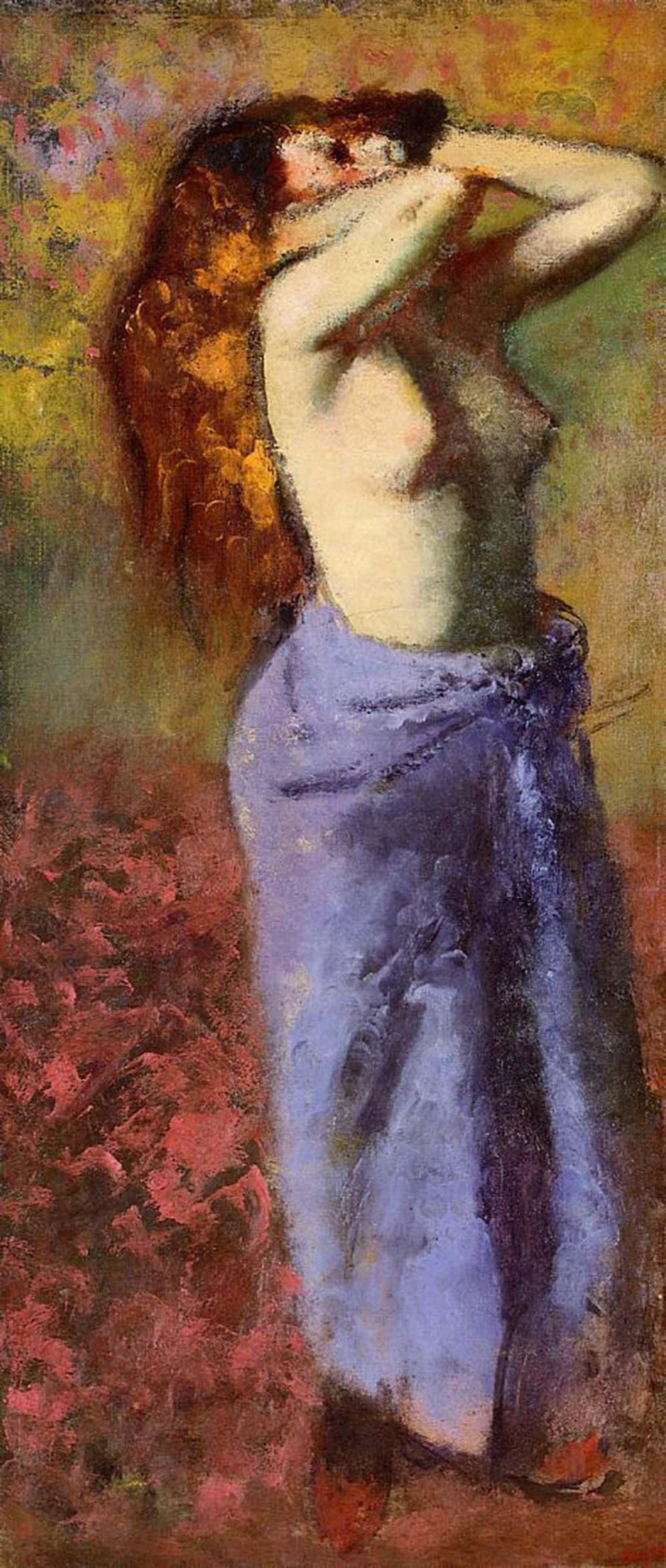 Edgar Degas. Nude woman in a blue robe