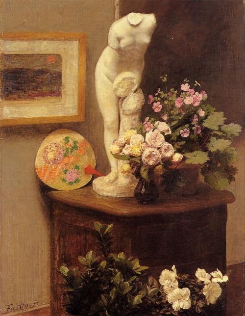 Анри Фантен-Латур. Натюрморт с торсом и цветами