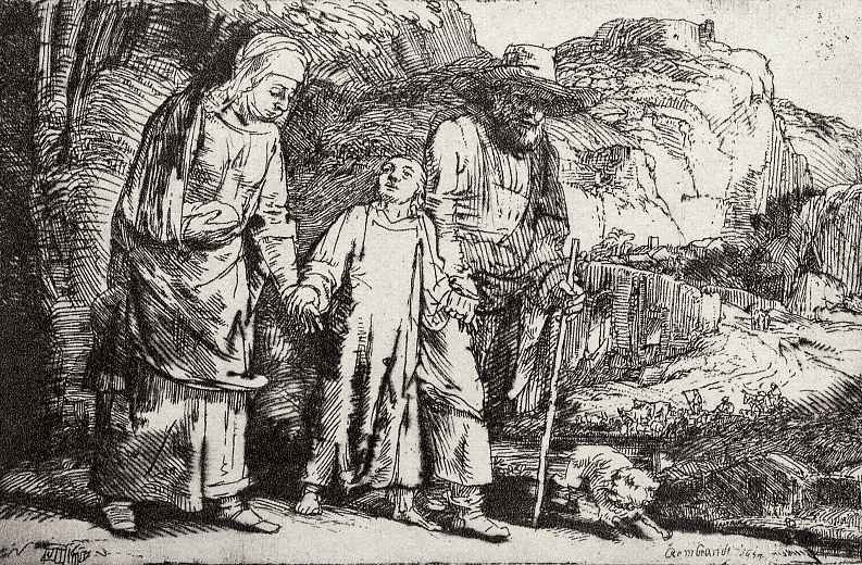 Рембрандт Ван Рейн. Иисус, возращающийся с родителями из храма