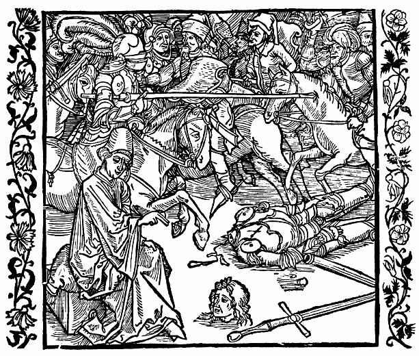 Альбрехт Дюрер. Отрубленная голова рыцаря исповедуется священнику