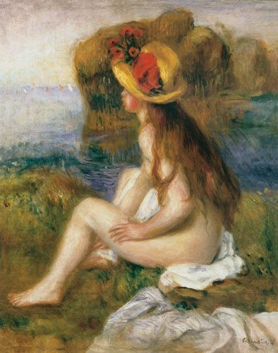 Pierre-Auguste Renoir. Bather in a straw hat