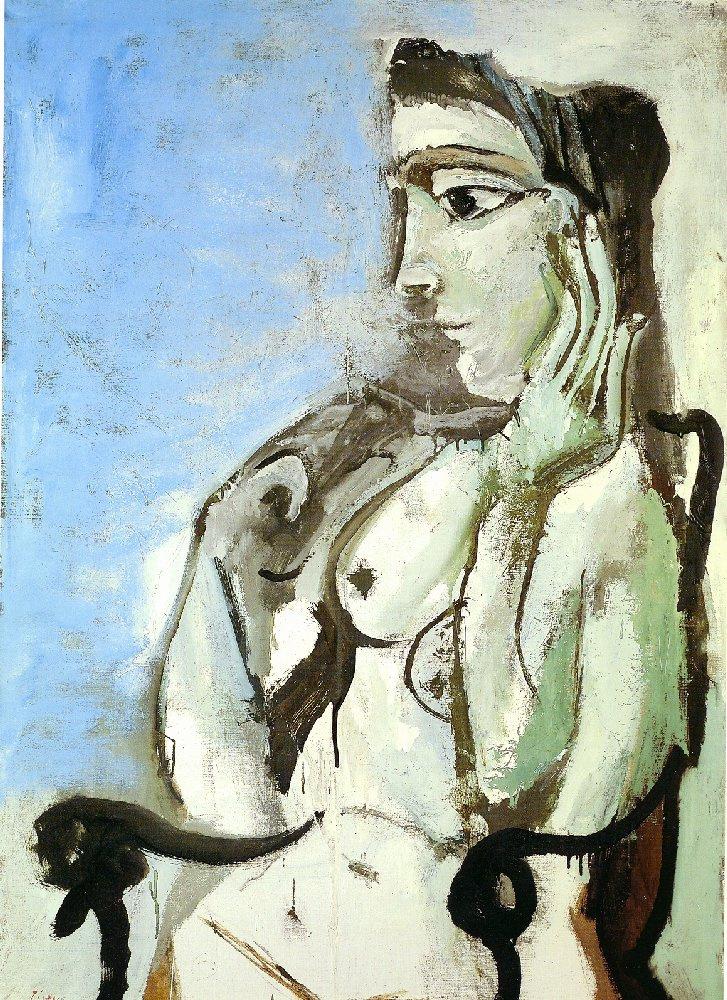 Пабло Пикассо. Обнаженная женщина, сидящая в кресле