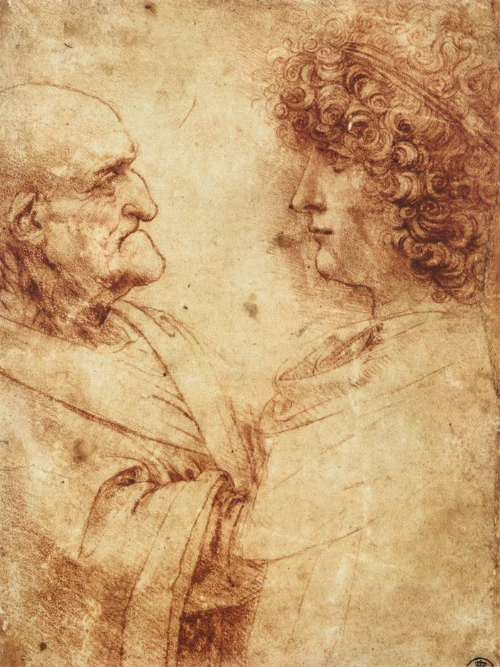 Leonardo da Vinci. The heads of old and young men