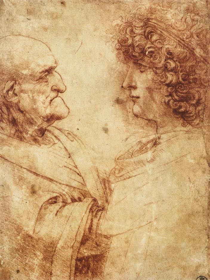 Леонардо да Винчи. Головы старого и молодого мужчин