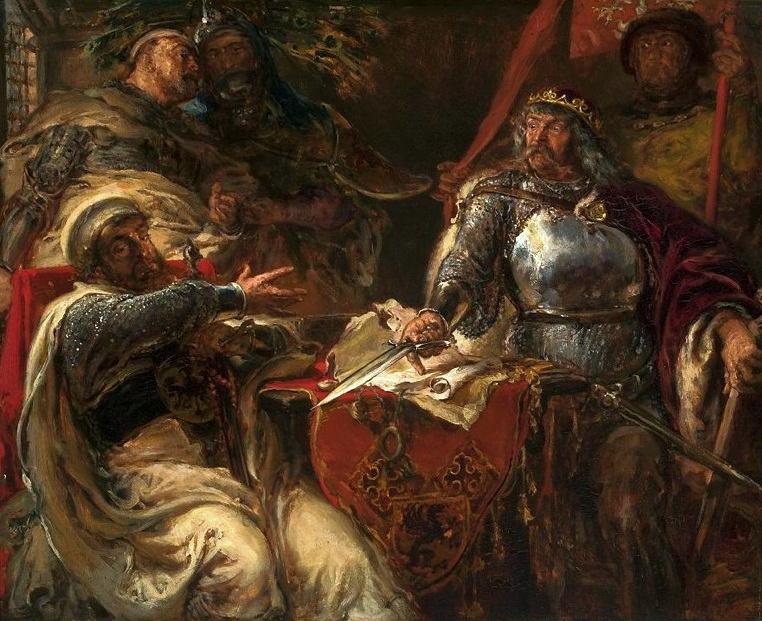 Ян Матейко. Король Ладислаус разрывает соглашение с тевтонскими рыцарями в Бжешли Куявски