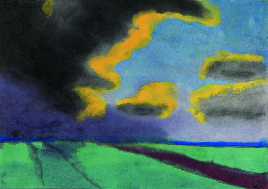 Эмиль Нольде. Широкий пейзаж с облаками