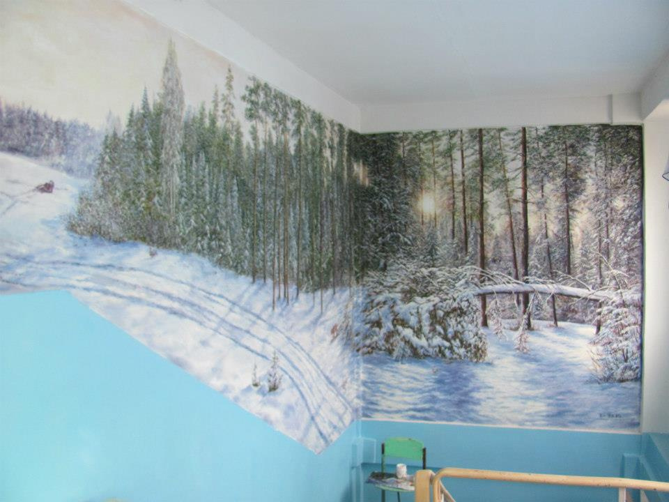 Віталій Бигич. Wall painting in Kryvyi Rih school No. 33, winter.