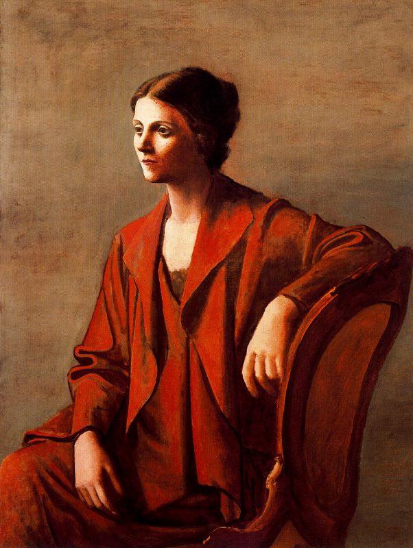 Ю. Пуджиес. Сидящая женщина в красном