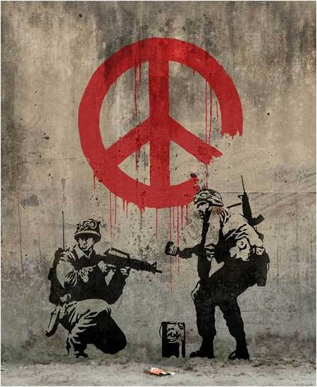 "Banksy. Soldiers painting the sign ""Peace"""