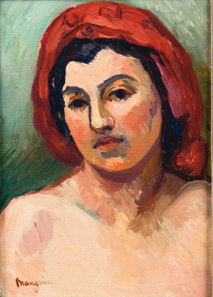 Henri Manguin. Portrait of Marie in a red scarf