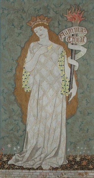 """Уильям Моррис. Правая панель ширмы-триптиха по мотивам Чосера """"Легенда о прекрасных женщинах"""""""