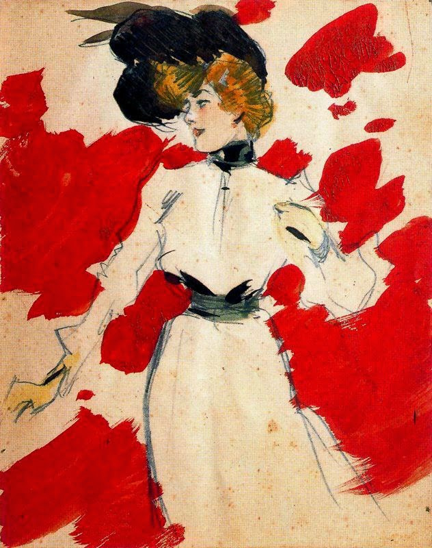 Ramon Casas i Carbó. Woman on a red background