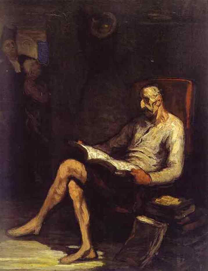 Honore Daumier. Con Quixote reading chivalric novel