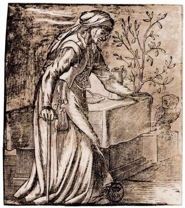 Йост Амман. Старуха с совой