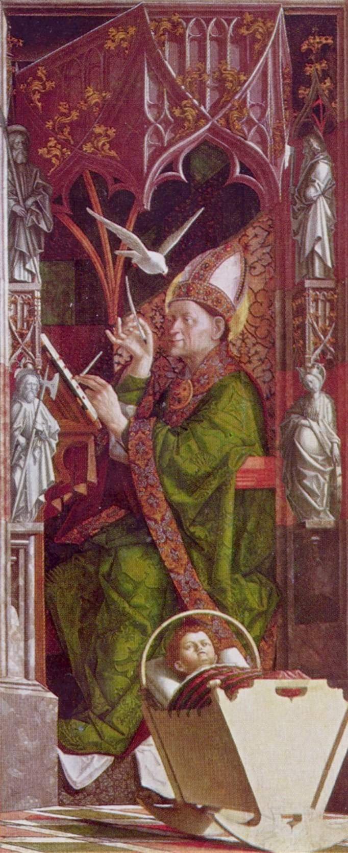 Michael Paher. Altarpiece of the Church fathers, the inner side of the right wing. St. Ambrose