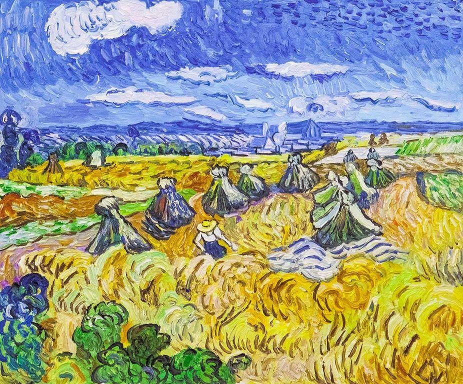 "Andrzej Vlodarczyk. Copy of Van Gogh's painting ""Haystacks and the Reaper, 1890"" (copy of Andrzej Wlodarczyk)"