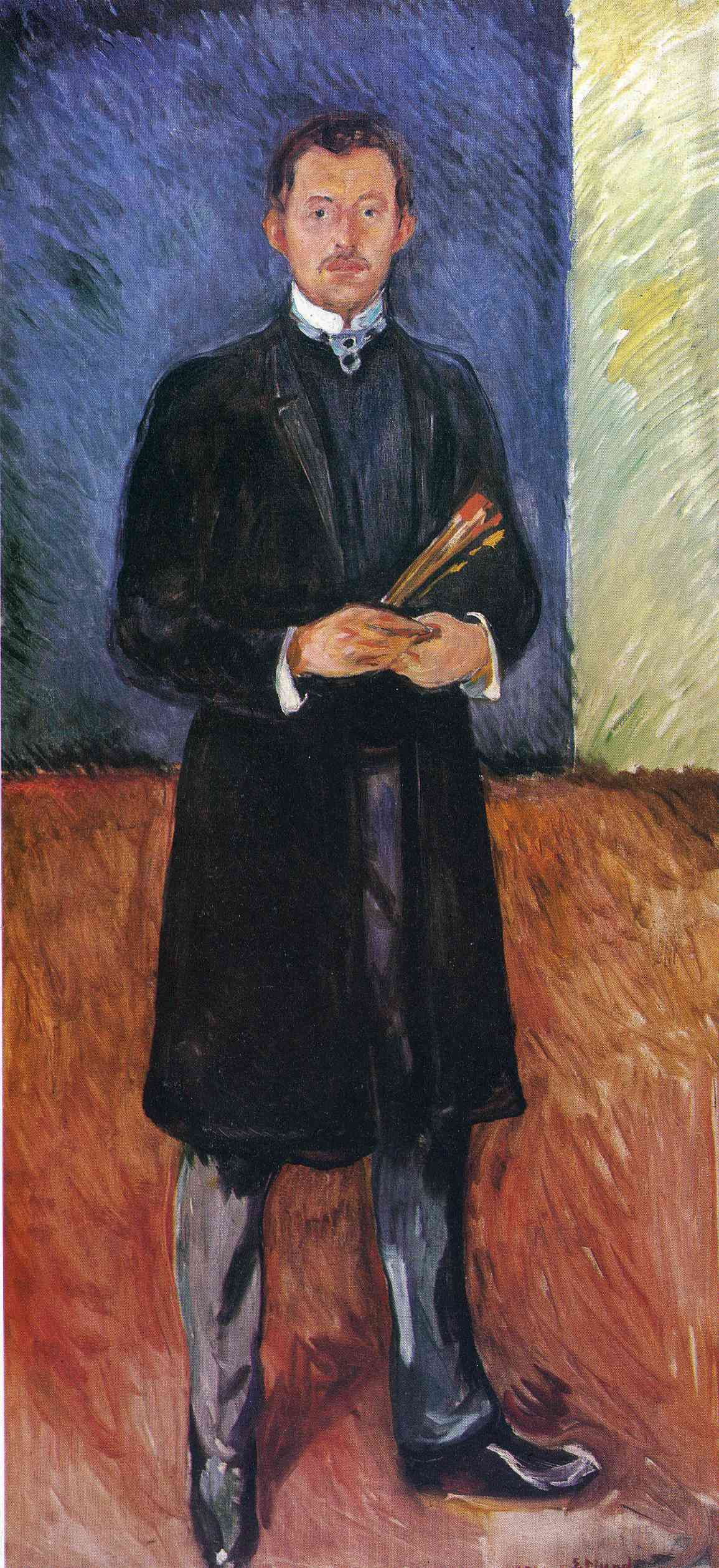 Edvard Munch. Self-portrait with brushes
