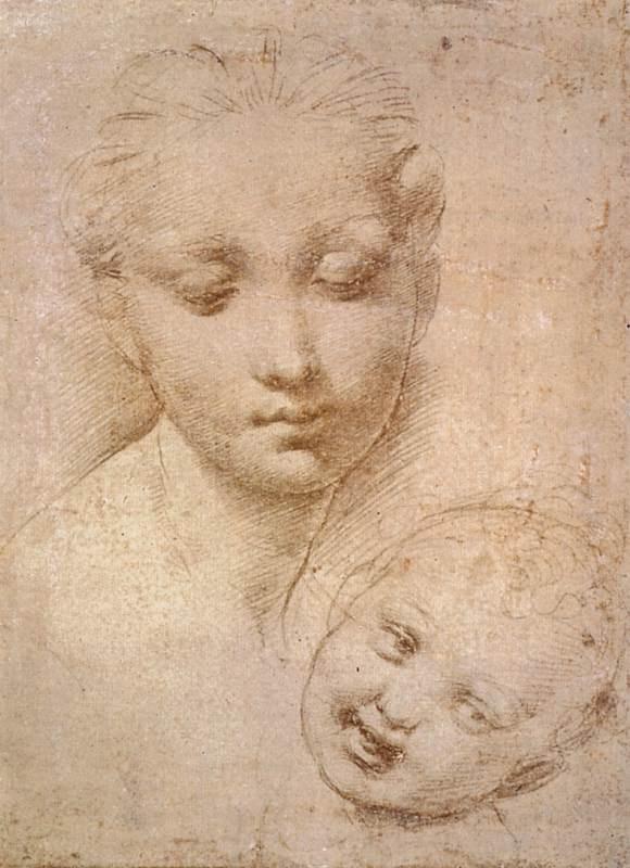 "Raphael Sanzio. Portrait of a woman with a child. A study for the ""Madonna Aldobrandini"""