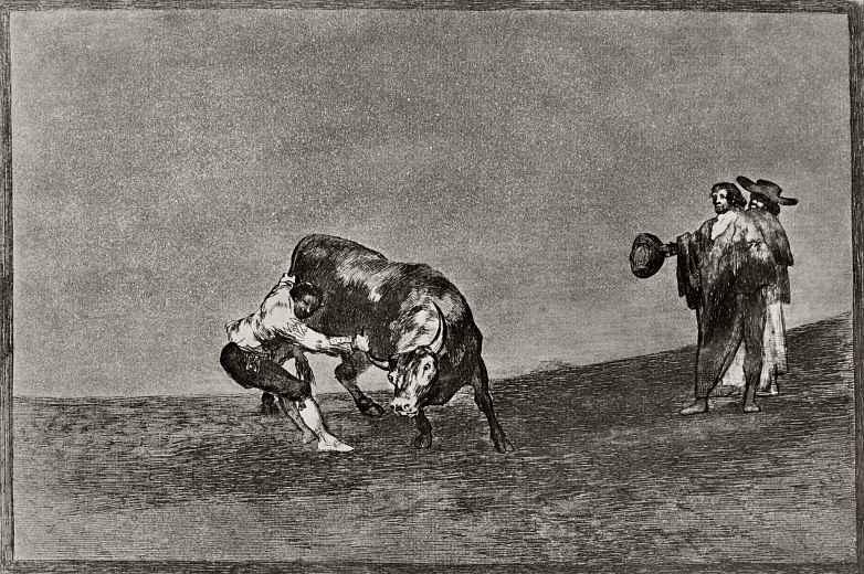 "Франсиско Гойя. Серия ""Тавромахия"", лист 16: Он же схватывает быка руками на арене Мадрида"
