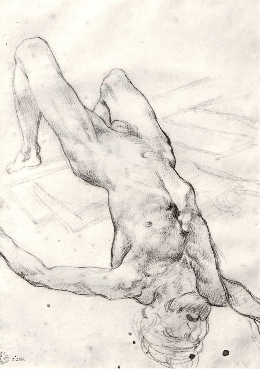 """Sketch for the painting """"The Raft of Medusa"""". Lying naked"""