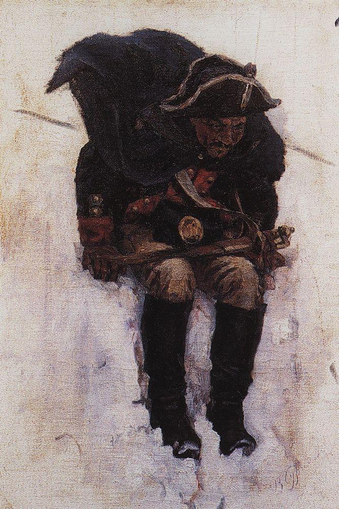 Василий Иванович Суриков. Солдат, спускающийся по склону снежной горы