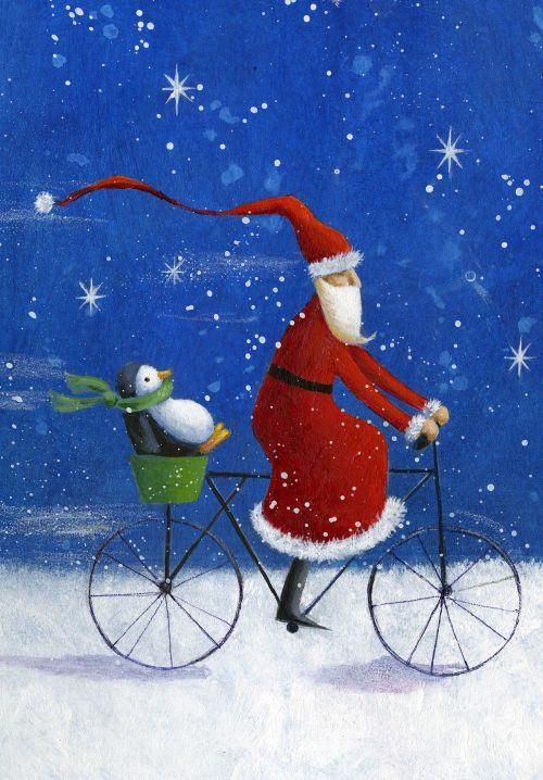 Jen Pashley. Santa on Bicycle with penguin