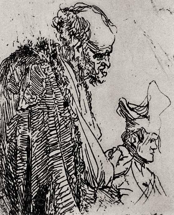 Рембрандт Ван Рейн. Две штудии нищих