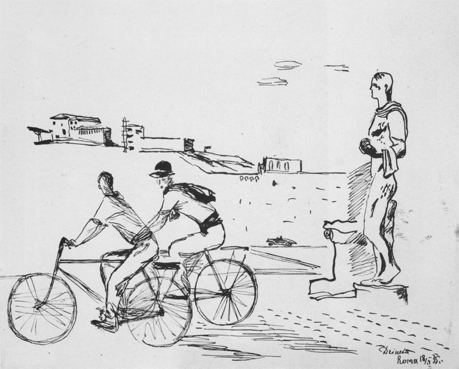 Александр Александрович Дейнека. Итальянские рабочие на велосипедах