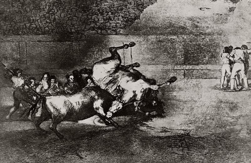 Франсиско Гойя. Серия Тавромахия, лист В: Пикадор, поддетый быком