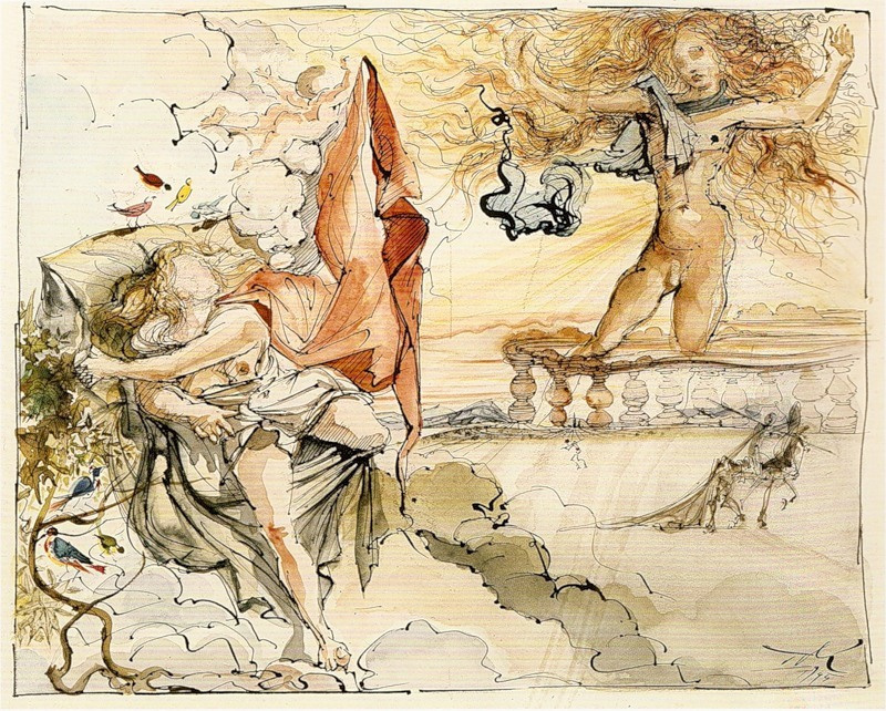"Salvador Dali. Illustration for the novel ""don Quixote"""