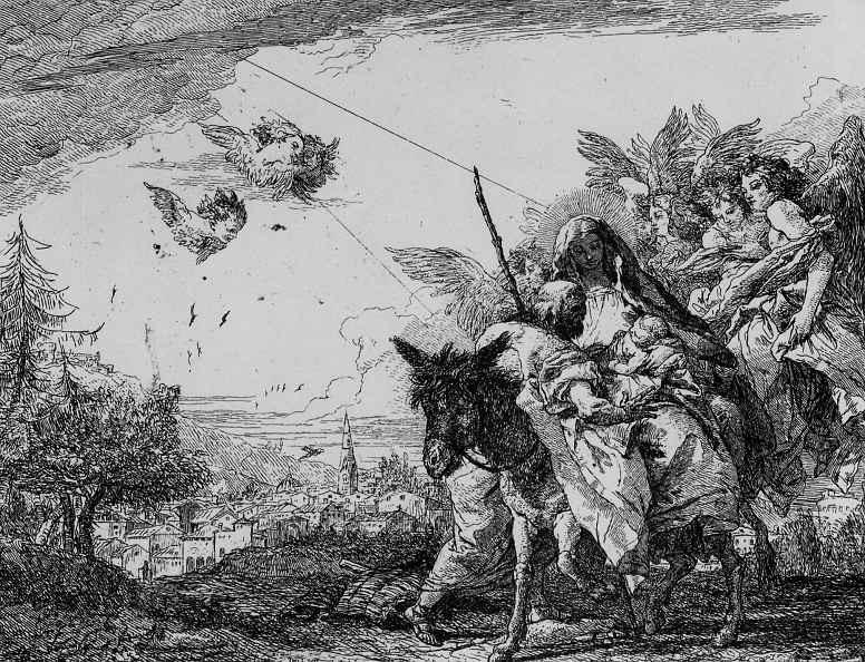 Джованни Доменико Тьеполо. Святое семейство на муле