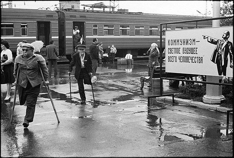 "Historical photos. Photo with a propaganda panel ""Communism - A Bright Future"""