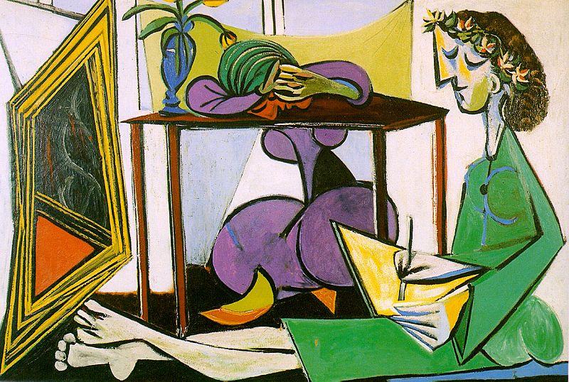 Пабло Пикассо. Интерьер с рисующей девушкой