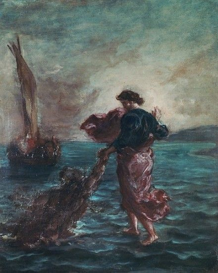 Eugene Delacroix. Jesus walks on the water and rescues St. Peter