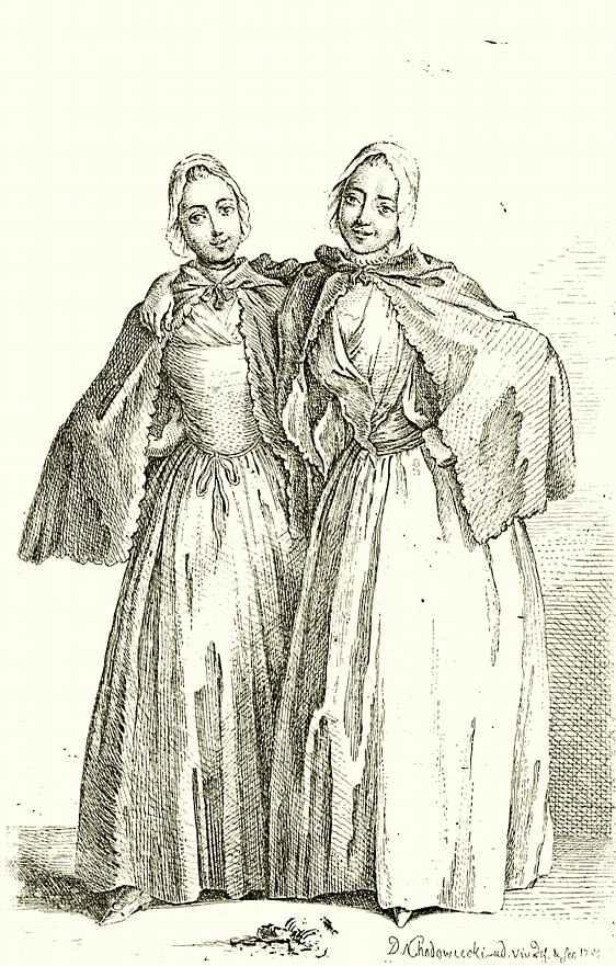 Даниэль  Николай Ходовецкий. Две стоящие женщины