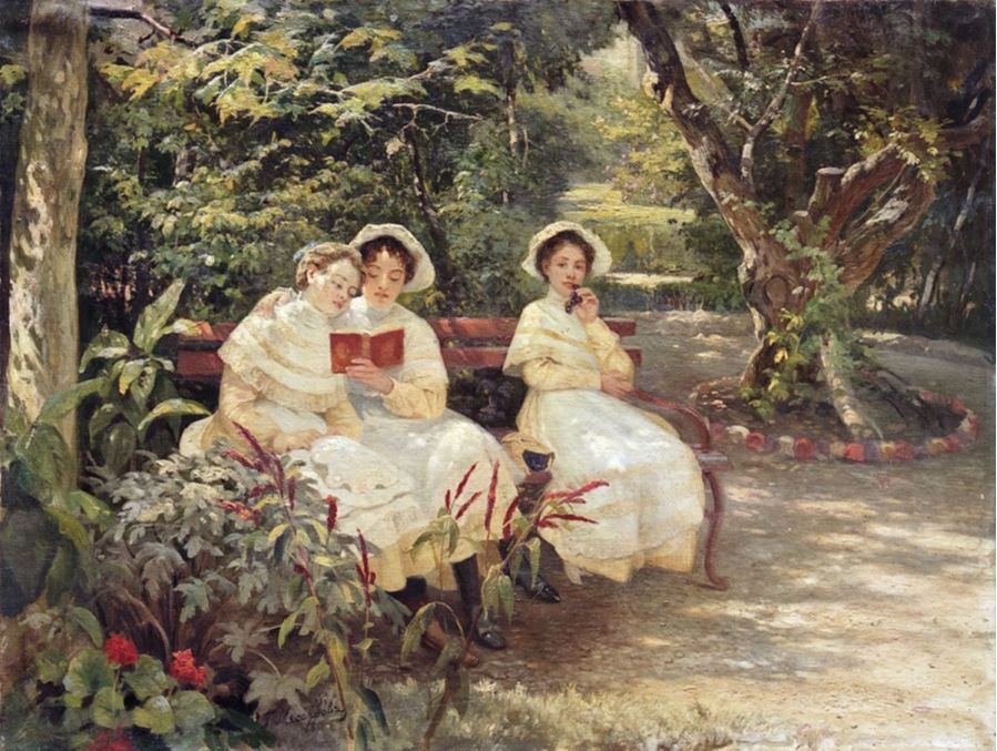 Grigory Grigorievich Myasoedov. Three sisters in the park. State Tretyakov Gallery, Moscow