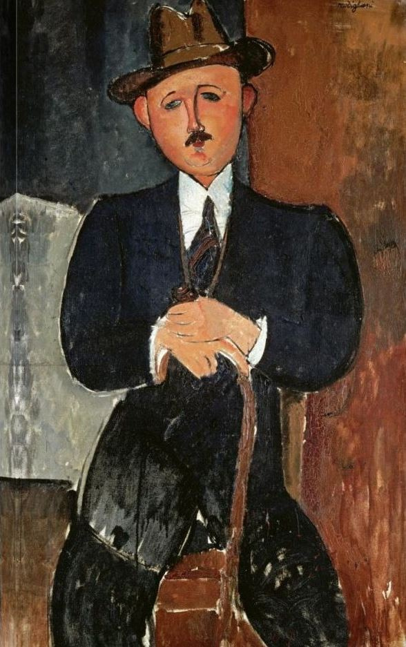 Amedeo Modigliani. Seated man with a cane