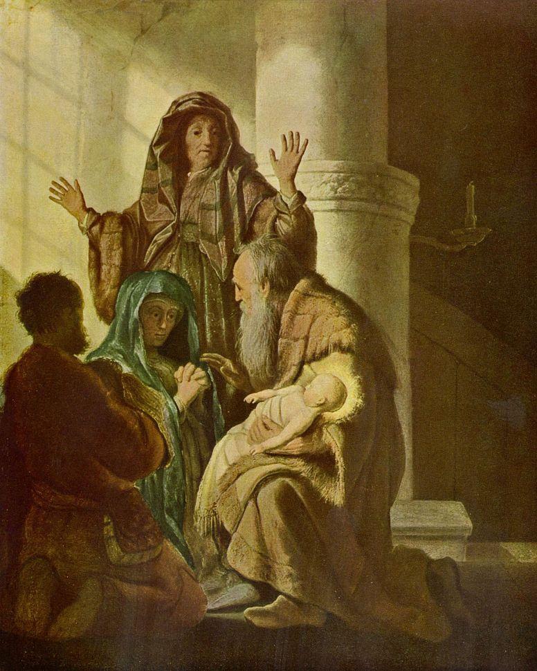 Рембрандт Ван Рейн. Анна и Симеон в храме