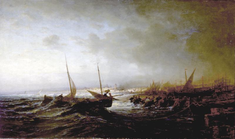 Алексей Петрович Боголюбов. Вытаскивание лодки