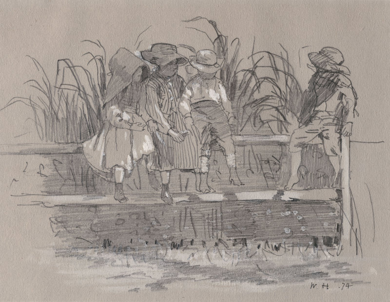 Winslow Homer. Children sitting on the fence