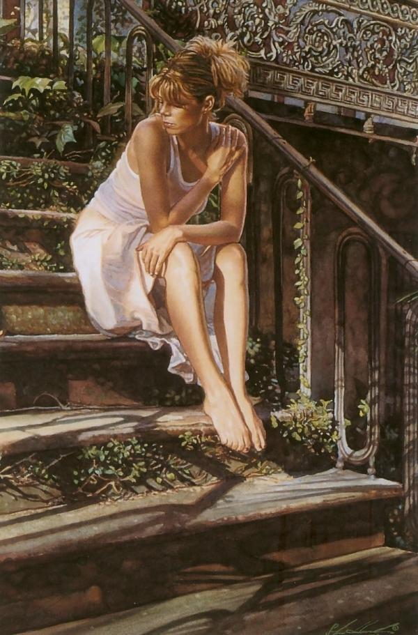 Steve Hanks. On the stairs