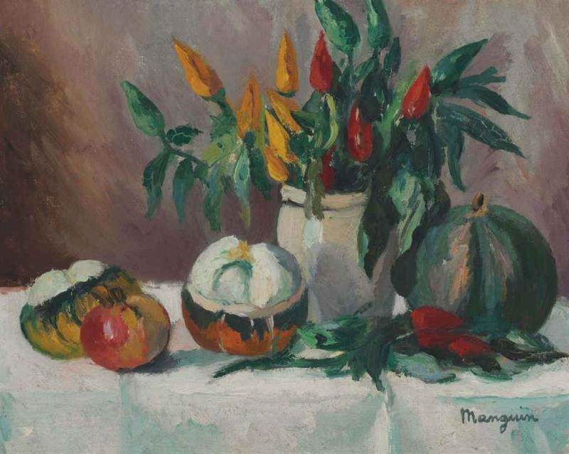 Henri Manguin. Still life with decorative peppers