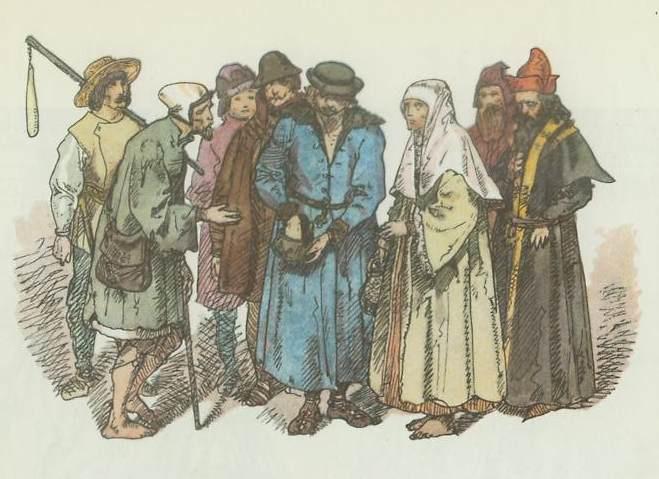 """Ян Матейко. Польские крестьяне 1447 - 1492. """"Польская одежда, 1200 - 1795 г.г."""""""
