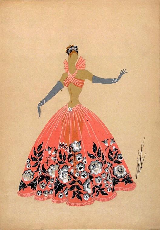 Роман Петрович Тыртов (Эрте). Дизайн оранжевого платья с серыми цветами