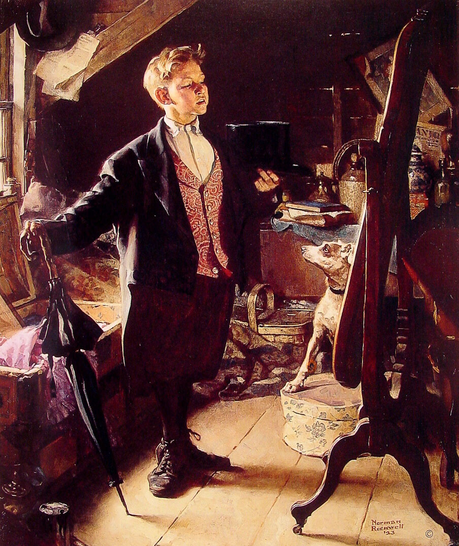 """Norman Rockwell. """"Cylinder and a white tie..."""""""