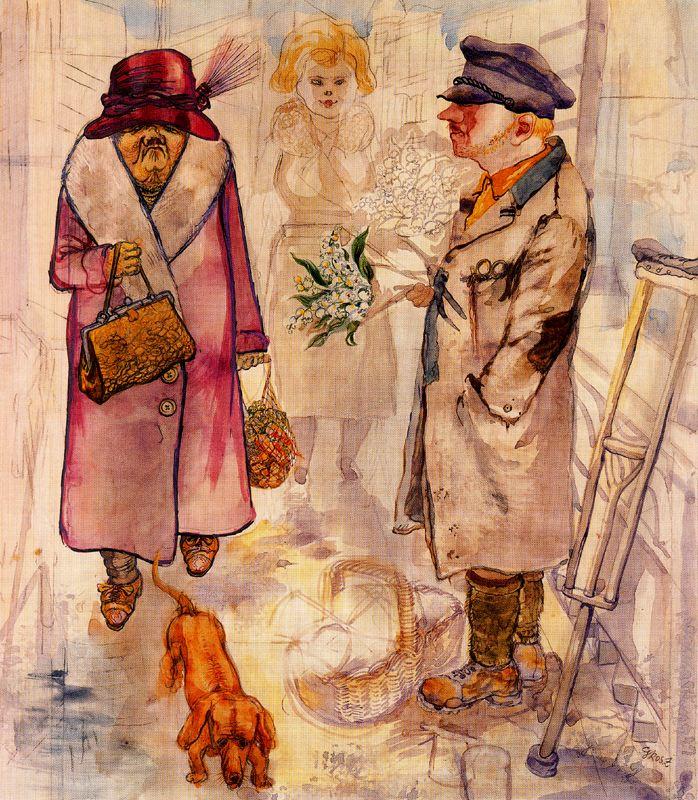 Георг Гросс. Дама с собакой