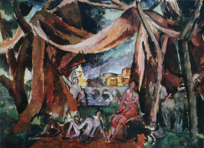"Alexander Alexandrovich Osmercin. Sketch of the curtain for the play ""Fuente Ovejuna Lope de Vega"" State Russian Museum"