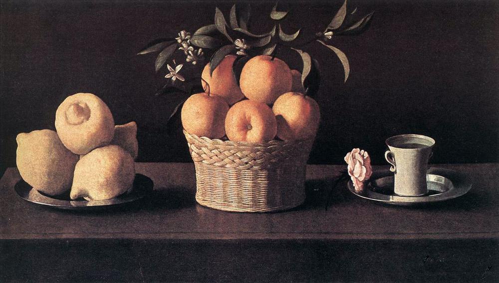 Франсиско де Сурбаран. Натюрморт с лимонами и апельсинами