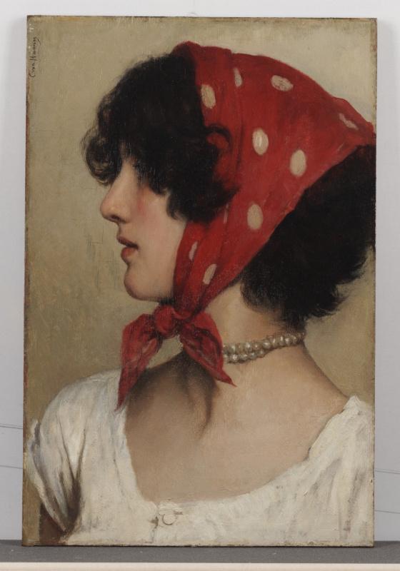 Cecil Van Haanen. Girl in red scarf
